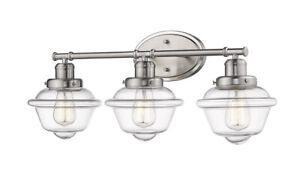 "Over Mirror Satin Nickel Bathroom Light Fixture 26"" W School House Glass New!"