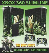 Xbox 360 Slim autocollant fille sexy cannabis weed bikini BABE peau & 2 pad skins