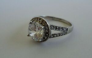 925 STERLING SILVER DESIGNERS LADIES WEDDING RING /SZ 7,8W/ 3.50 CTS DIAMONDS