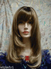 Sin City Wigs Long Straight Sleek Feathered Angle Layers Bangs Brown Way Hot!