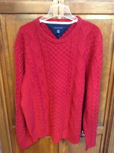 Tommy Hilfiger 100% Cotton Red Cable Knit Crew Neck Sweater Men XXL $98 NWT New