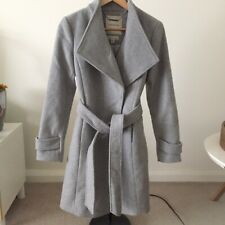 Forever New grey wool blend basic tie up stylish long workwear jacket coat 8 S