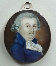 (B010) Miniatur Herren Portrait,Gold Montierung,eingeglastes Haargeflecht um1800