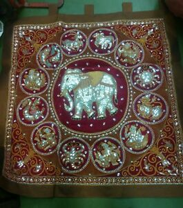 """One Silver Large Elephant with Zodiac Circle  Squared Kalaga Tapestry 43"""""""
