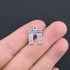 6 Arc de Triomphe Charms Antique Silver Tone 2 Sided - SC1174