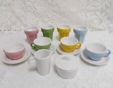 PRETEND PLAY PORCELAIN TOY TEA SET CUPS SAUCERS CREAMER SUGAR BOWL MILKSHAKE