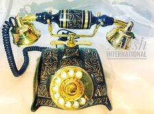 NEW BRASS ITALIAN STYLISH LOOK BLACK AND GOLDEN ROTARY DIAL ANTIQUE TELEPHONE