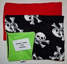 GOTH skulls BABY BLANKET FLEECE reversible BLACK/LIME stroller cot buggy BNew