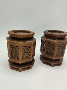 """Pair of Vintage 1960's Napcoware Ceramic Faceted Octagonal Candle Holders 4.5"""""""