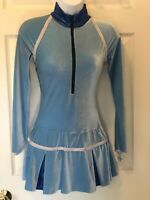 GK ICE FIGURE SKATE LgSLV ADULT SMALL Lt BLUE VELVET ZIP TURTLENECK DRESS Sz AS