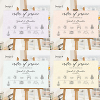 Personalised Wedding Order of Service Board Chart | Order of Event Sign A1 A2 A3