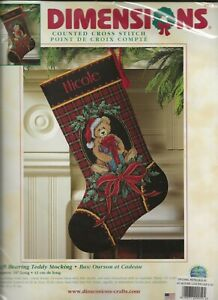 Dimensions #8682 Gift Bearing Teddy Stocking Counted Cross Stitch Kit