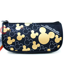 Disney Mickey Mouse Pencil Case Zippered  Cosmetic Half Moon Pouch Bag- Gold