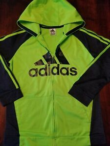 ADIDAS Boys Charcoal Gray/Lime zip up Hoodie Size Youth XL (18-20 )