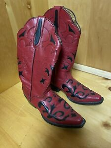 JB Dillon Women's Cowboy Red Leather Boots Size 7B