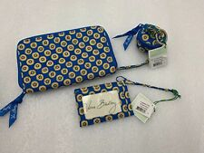 Vera Bradley Riviera Blue Zip Around Wristlet Wallet Luggage Tag & Keychain Coin