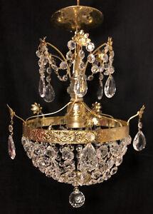 Vintage Brass/ Gold Crystal Beaded Basket Chandelier Waterfall Flowers Ball