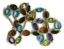 """Gemstones Multicolor Oval 24"""" Necklace, 14k Yellow Gold"""
