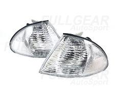CHROME w/ CLEAR LENS CORNER LIGHT PAIR SET FOR BMW E46 4DR SEDAN 1999-2001