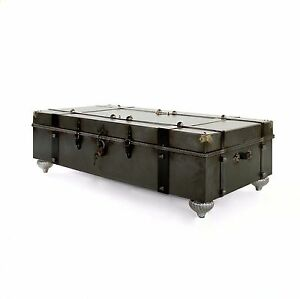 60 Long Trunk Coffee Table gray metal iron brass leather glass top Gorgeous