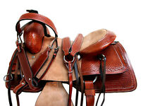 ROPING SADDLE RANCH HORSE WESTERN USED LEATHER PLEASURE TOOLED TRAIL 15 16 17