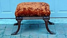 Antique 19c French Claw Feet Side Stool With Amber Velvet Upholstery
