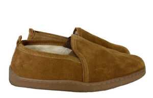 Minnetonka Men's Romeo Brown Suede Pile Lined Slippers Size 7 Faux Fur Lined