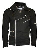 Bella Black Zip Up Biker Racing Style Classic Jacket Coat With Zip Detailing