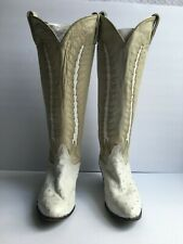 Tony Lama Women's Cowboy Boots Full Quill Ostrich Western White/Tan Sz 61/2