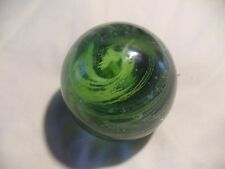 Kerry Glass Hand Blown Green And Black Swirl Paper Weight
