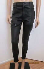 HUDSON Catalyst Slouchy Skinny Stretch Black Leather Jeans Pants Size 27 ~NWT~