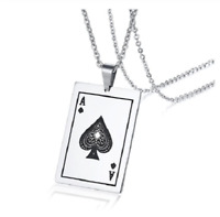 Ace of Spades Pendant Necklace Earrings Playing Card Stainless Steel Jewelry NEW