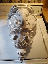 Vtg African Elephant white Wall Sconce shelf leaves & berries. Gorgeous!!!