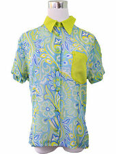 VERSACE Luxury Designer Women's Vtg 90s Silk Short Sleeve Shirt Blouse sz 48 V17