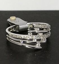 18ct white gold diamond ring multirow look UK size Q, 0.32CT Diamond, 5.4g.