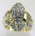 Diamond cluster ring 14K yellow gold round brilliants baguettes 1.75CT sz 7 1/2