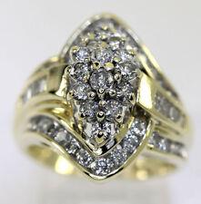 Anillo racimo de diamantes 14K oro amarillo redondo brillantes barritas 1.75CT