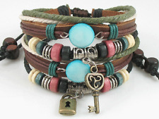 Couple Jewelry Lot 2 Surfer Tribal Hemp Leather Bracelet Wristband Men Women L&K