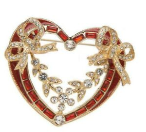 Napier Heart Bows Brooch Pin Gold Tone Red Rhinestone NEW w Gift Box Valentines
