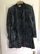Ladies Caroline Charles Blacky/blue Velvet Trouser Suit - Size 10 Eur 36