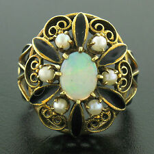 Vintage 14k Yellow Gold Opal Pearl Black Enamel Large Dome Ladies Cocktail Ring