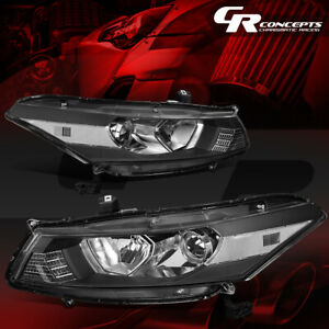 PAIR PROJECTOR HEADLIGHT LAMP FOR 08-12 HONDA ACCORD 2-DOOR COUPE BLACK/CLEAR