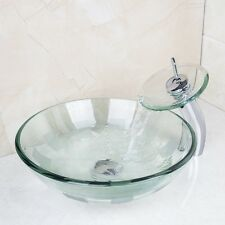 Bathroom Glass Sink Waterfall Counter Basin Vanity Round Faucet Drain mixer Tap
