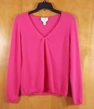 TALBOTS Size M MP Petite Pink Cashmere Gathered VNeck Pullover Sweater Knit Top