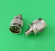 (2 PCS) Mini UHF Female to N Male Connector - USA Seller