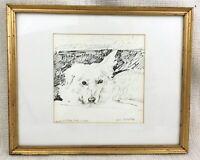 Original Hund Zeichnung Gerahmt Unterzeichnet Michael Fell Royal Academy