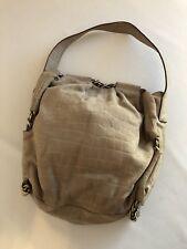 Furla Embossed Croc Beige Soft Suede Chain Shoulder Bag