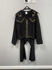 Ex Hire Fancy Dress Costumes- Black Elvis Suit With Gold Trim - Size Medium