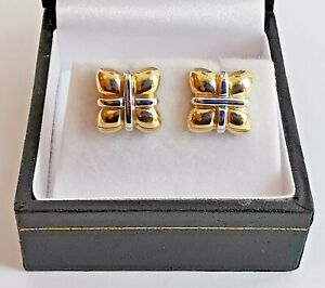 9ct 375 YELLOW GOLD WHITE GOLD TRIMMED STUD EARRINGS fancy gift parcel shape