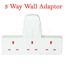 3 WAY SOCKET EXTENSION WALL ADAPTOR 3 GANG WHITE FUSED PLUG MULTI ADAPTER SWITCH